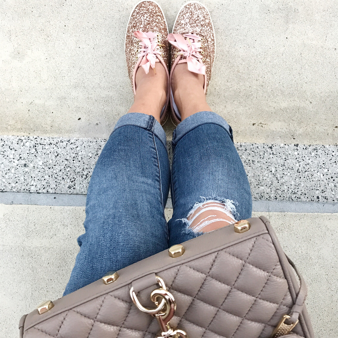 b30dce1c00a9 Sparkle Me Pink. Keds x kate spade new york Champion Glitter Shoes ...