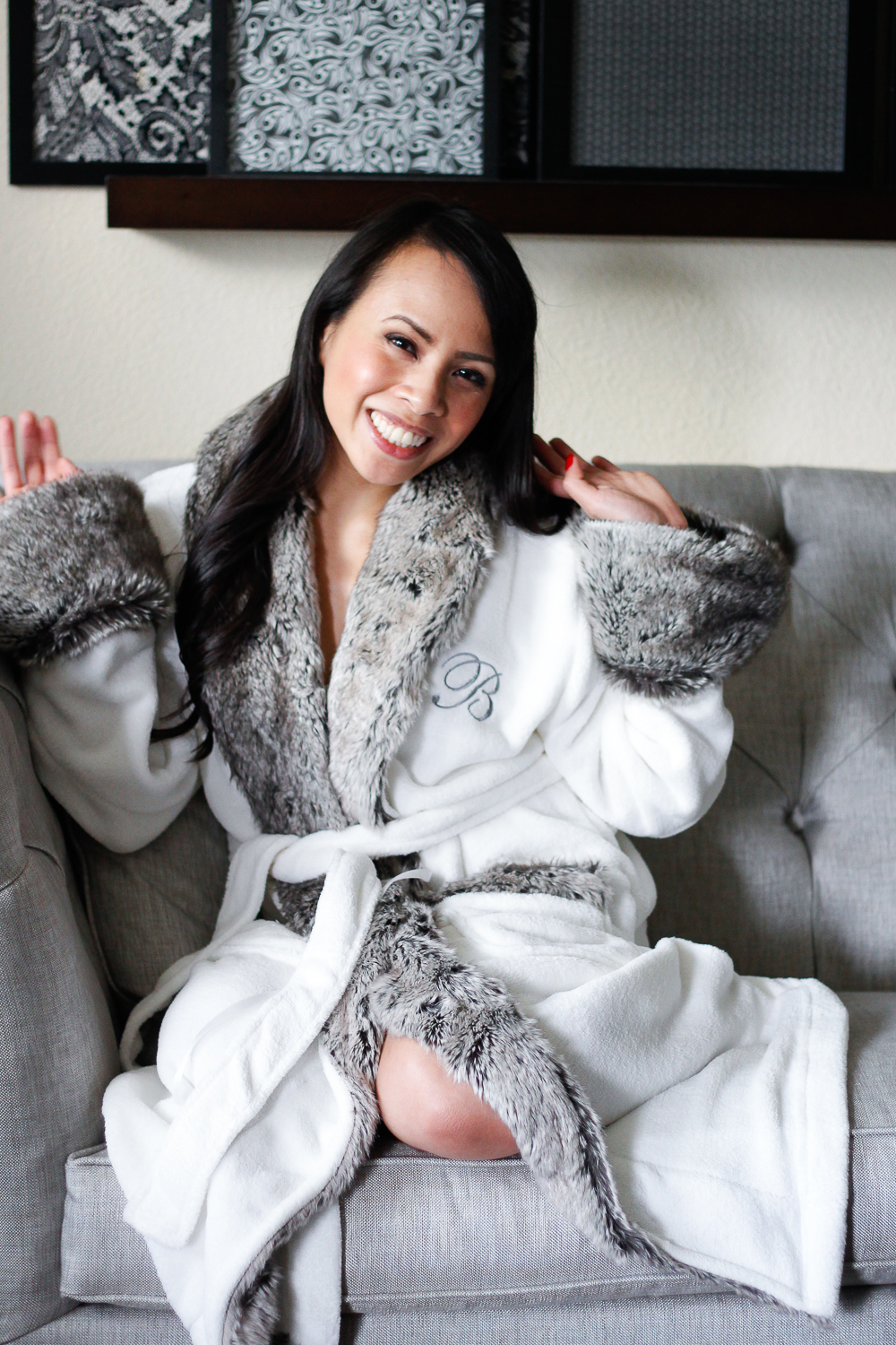 Faux Fur Robe Petite And Toned